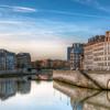 Aurore sur la seine et les deux îles de Paris